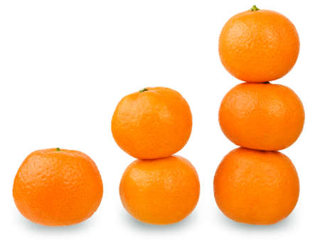 Fresh tangerines isolated on white background. Concept of growth. photo
