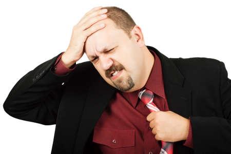 Hombre de negocios en la depresi�n con la mano en la cabeza aislado sobre blanco  Foto de archivo - 7217670