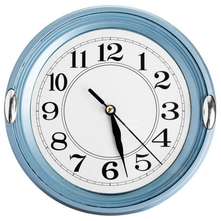 Blue wall clock isolated on white background