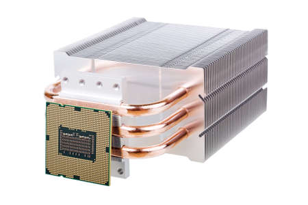 CPU and cooler with heatpipes isolated on white background