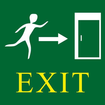 green sign: Uscita d'emergenza - segno verde con l'uomo illustrazione vettoriale