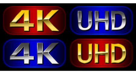 definici�n: 4K etiquetas UHD - Ultra televisi�n de alta definici�n Vectores