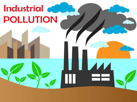 industrial complex: Air pollution of factory with chimneys against the sky  Vector illustration