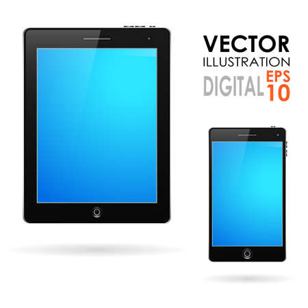 Set of realistic display, tablet computer and mobile phone template with blue screen Vector