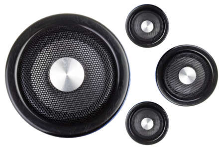 loud speaker: Four speakers isolated on a white background