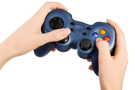 Hands with gamepad isoated on white background