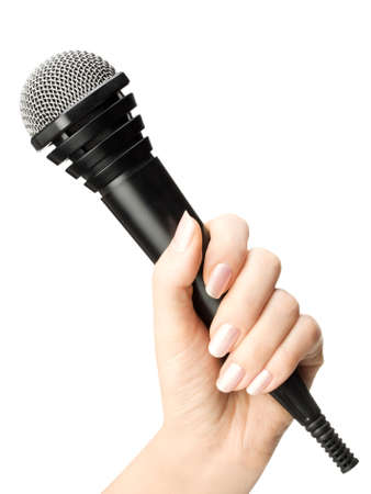 Hand with microphone isolated on white background photo