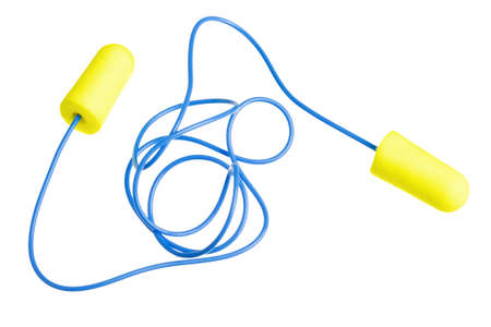 stop pollution: Yellow earplugs with blue band isolated on white background Stock Photo
