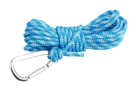 escalando: Mosquetón unido a la cuerda Foto de archivo