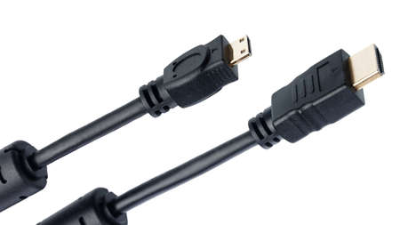 hdmi: HDMI and mini-HDMI cables isolated on white background