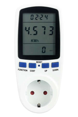wattage: Digital portable power meter isolated on white background Stock Photo