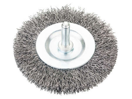 Crimped wire bench grinder wheel on white Stok Fotoğraf