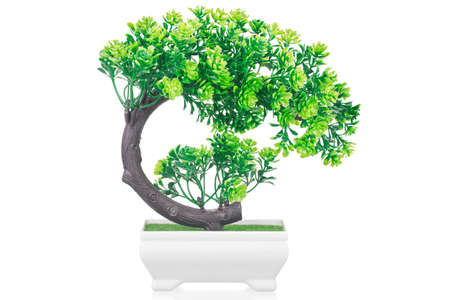 Artificial bonsai tree in pot isolated on white