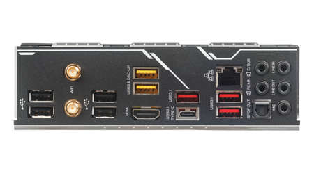 Connectors and ports on back side of modern computer motherboard