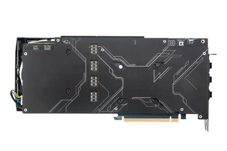 Modern computer graphics card, back side - metal backplate