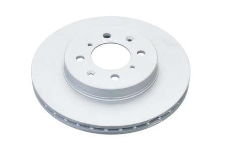 New brake disc with zinc coat isolated on white background