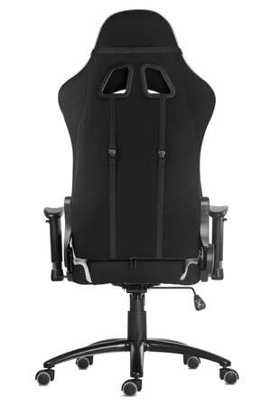 Modern comfortable gaming chair isolated on white background. Back view.