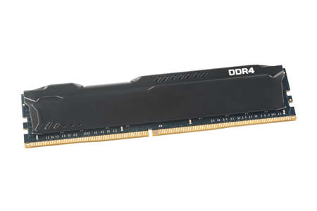 Modern DDR4 memory stick of computer with radiator isolated on white background