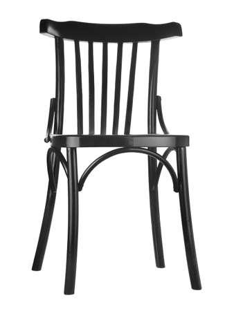 Schwarzer Holzstuhl isoliert auf weißem Hintergrund