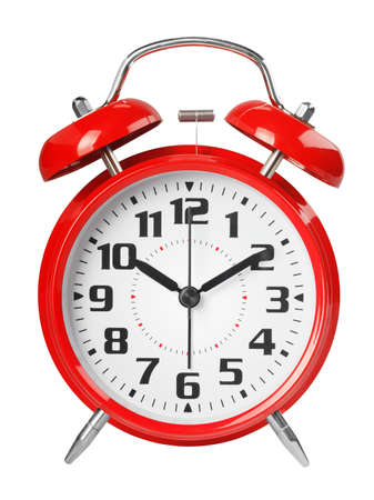 Red retro alarm clock, with a large dial, isolated on white background. The concept of time, delay, morning rise, the appointed meeting. Close up shot.