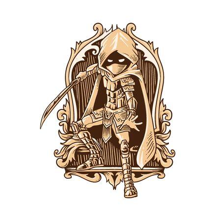 swordsman engraving style vector illustration