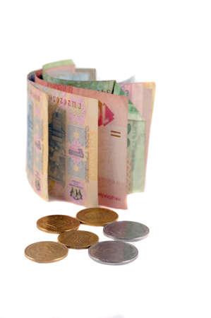 hryvna: Ukrainian small bills and coins gryvnas isolated-4
