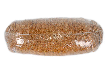cellophane: loaf of bread isolated in cellophane wrap