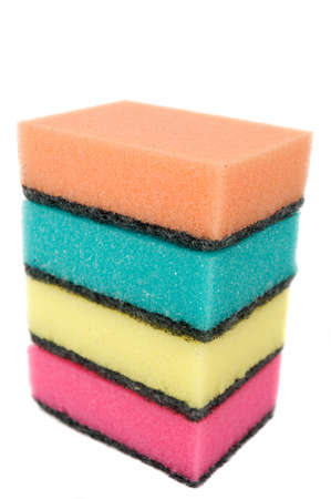 stack of sponges isolated photo