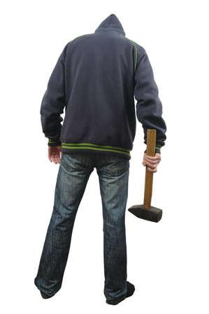 maniac: maniac with  sledgehammer  isolated