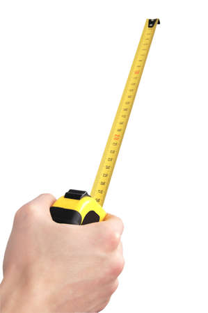 hand holding tape measure isolated photo