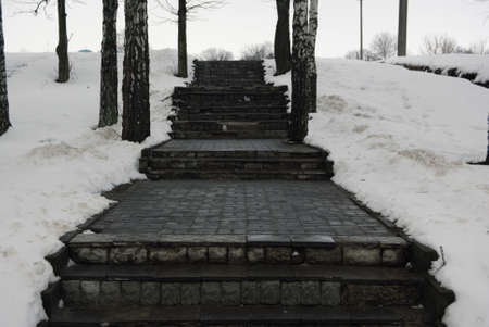 winters: winters stairs Stock Photo