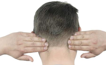 man massage of his neck photo
