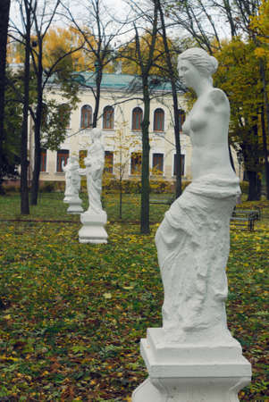 philosopher's: Ostroh, Ukraine - October 25, 2015: Sculpture of the Venus and old-Greek philosophers in the autumn park of Ostroh academy.