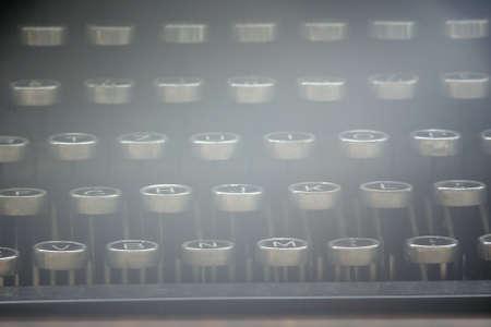 alphabet keyboard: Strange photo of retro typewriter keyboard with latin alphabet. Soft-focus