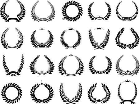 triumph: vector illustration set wreaths triumph winning recognition