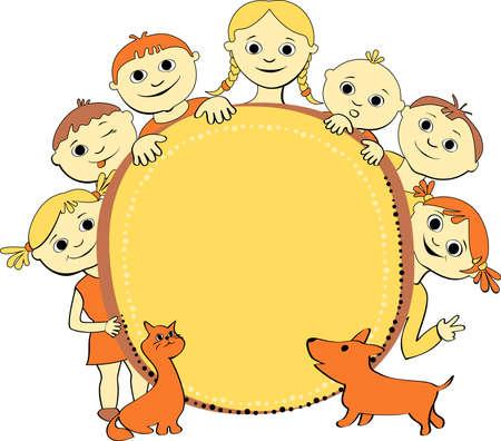 バナー猫や犬と子供たちの笑顔のベクトル イラスト