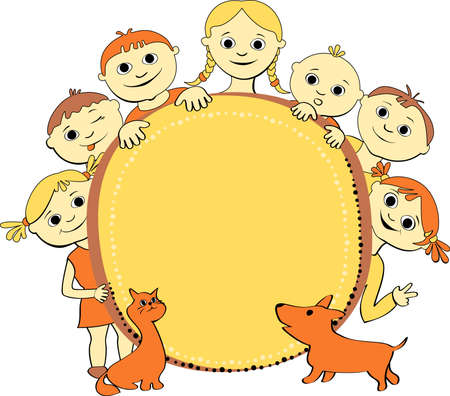 vector illustration of smiling kids with banner cat and dog