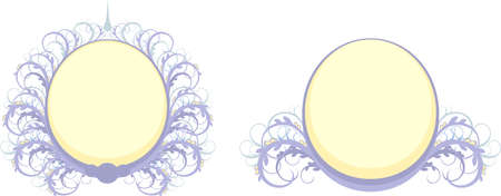 set of colored oval frame with swirls Vector