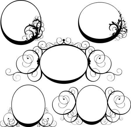 vector illustration of a black oval frame with swirls Vector