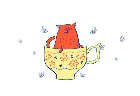 scamp: illustration of cat in teacup Illustration