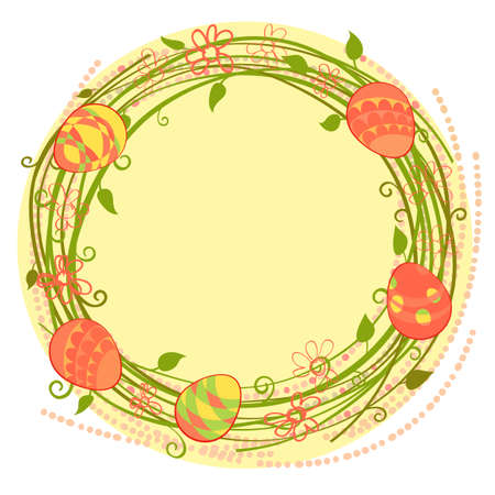 vector wreath Happy Easter cards floral wreath Vector