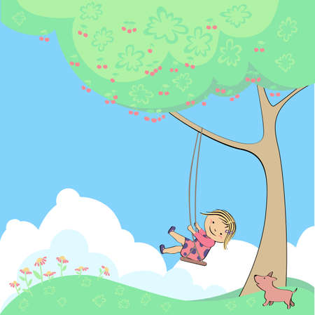 vector child on swing at tree baby Vector