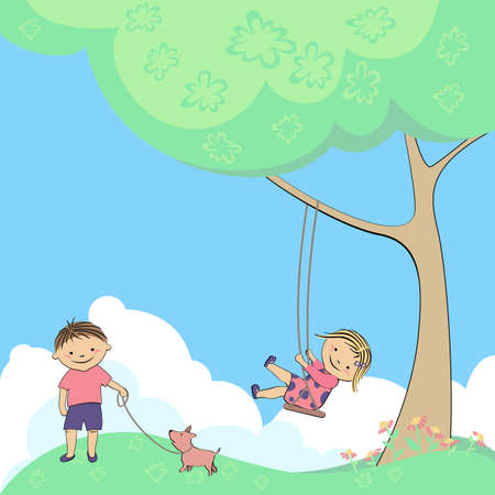 vector swing at tree baby, children playing in nature Vector