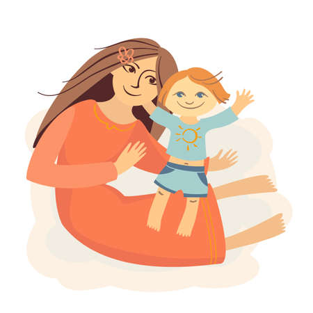 loving mother holds a child, they smile Vector