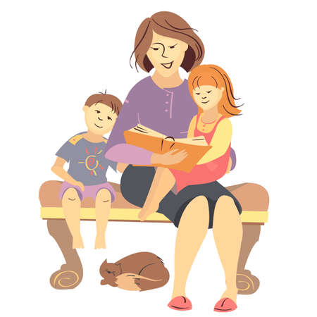 babysit: vector mother reading a book to children, family reading Illustration