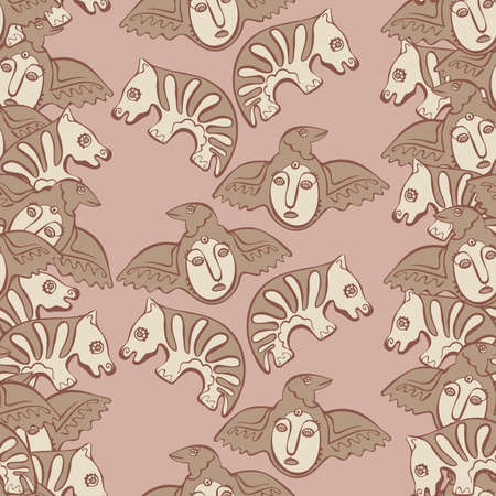 cult: vector seamless pattern Permian animal style, masks and birds
