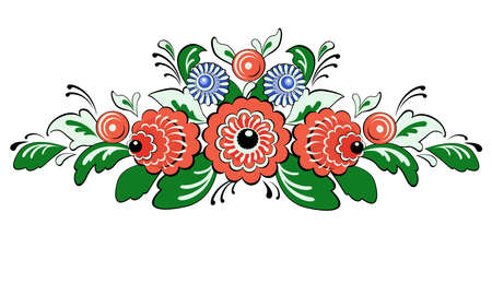folklore: Vector ornament Russian folklore - Gorodets, ornamental flowers and leaves Illustration
