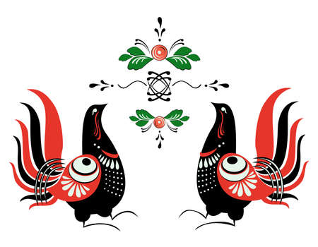 folklore: Vector ornament Russian folklore - Gorodets, ornamental birds, flowers and leaves Illustration