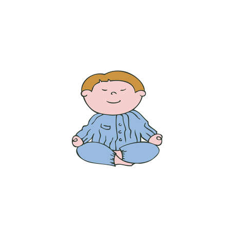 lotus position: Vector illustration boy in the lotus position, yoga for kids