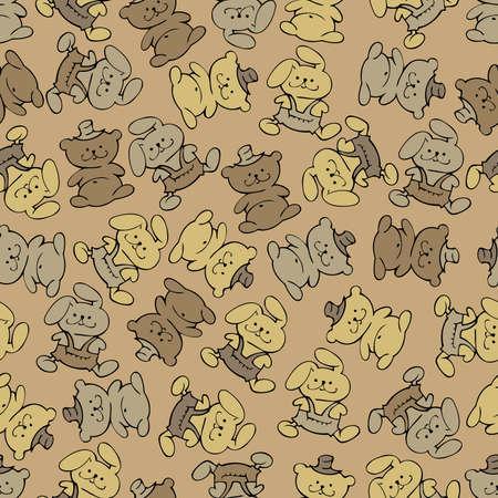 babe: vector design seamless babe - bears and bunnies